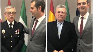 Rafael Moreno y José Luis Cantón, con el alcalde de Almería.