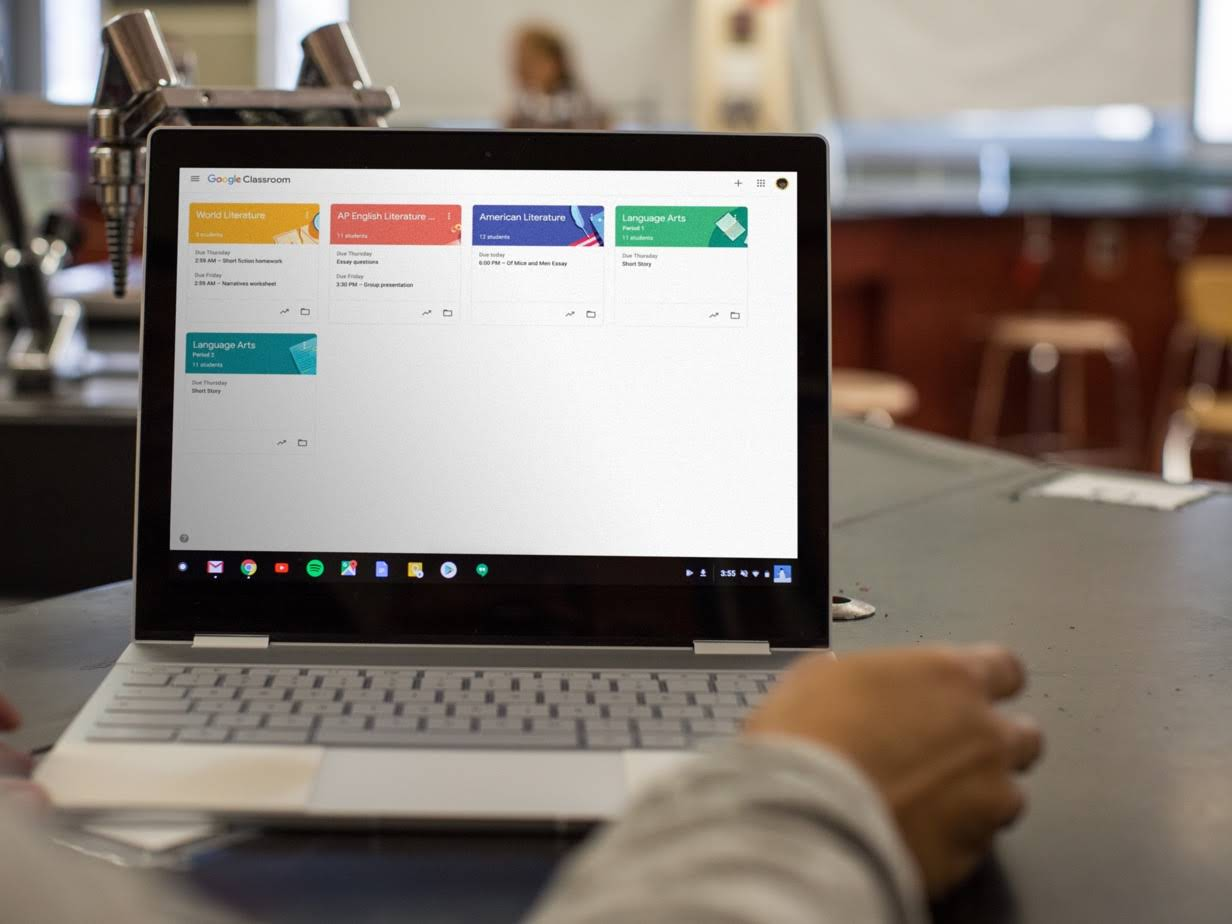 Close up of a Chromebook on a desk with the Classroom screen up.