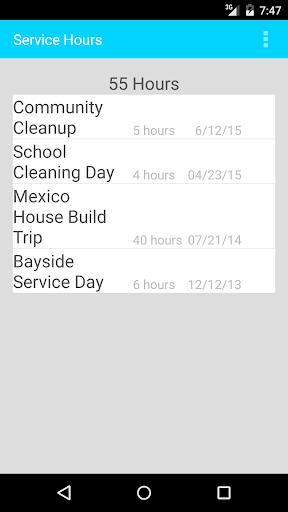 Community Service Hours Log