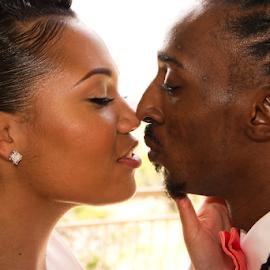 Beauty and Street by Matthew Chambers - Wedding Bride & Groom ( love, bride, close up, groom, bride and groom, african american, kiss, fair skin )