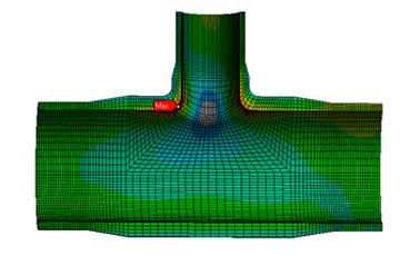 ANSYS - Пример результатов расчет тройника подводного трубопровода