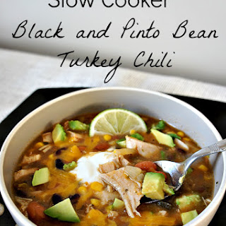 Recipe for Slow Cooker (crock pot) Spicy Black and Pinto Bean Turkey Chili.
