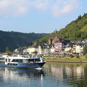Traveling the Mosul River by Ashley Rolland - Transportation Boats ( cochem, vineyards, germany, valley, boat, waterway, river,  )