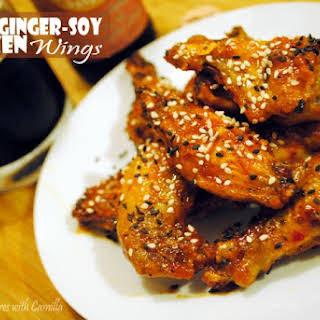 Crisped Ginger-Soy Chicken Wings.