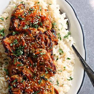 Thai Orange Ginger Chicken with Ginger Soy Rice.