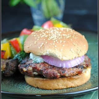 Lamb Burgers with Cilantro Raita.