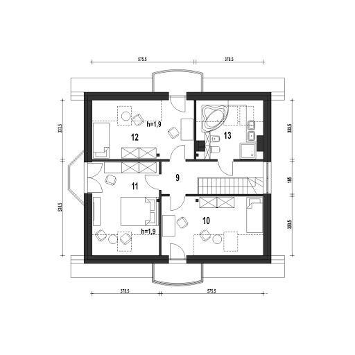 Dom Dla Ciebie 1 w2 bez garażu B - Rzut poddasza