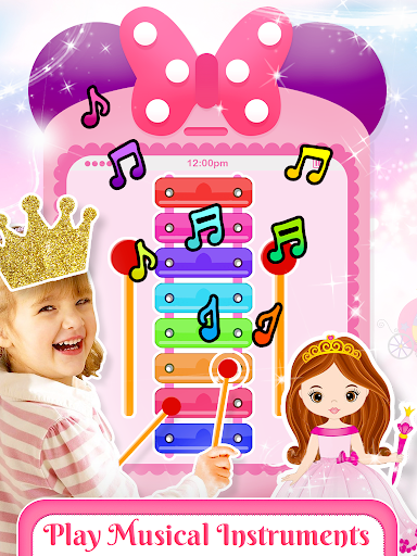 Pink Little Talking Princess Baby Phone Kids Game screenshot 1