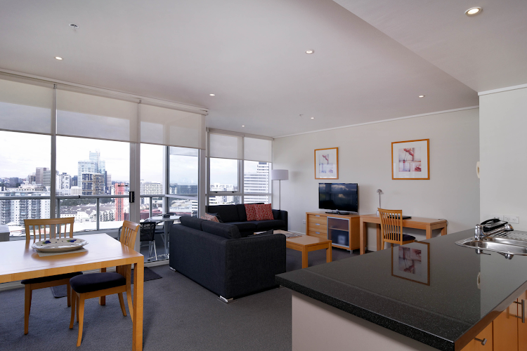 Simplistic living area in Quest Southbank