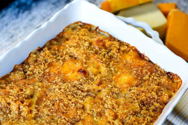 Four Cheese Mac And Cheese Baked Until Golden Brown.