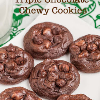 Thick and Chewy Triple Chocolate Cookies