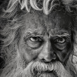 Portrait by Swarna Rajan - People Portraits of Men ( close up, beard, black and white, portrait, photography )