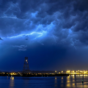Thunders in Santos by Nicoleta Raftu - Landscapes Waterscapes ( thunder, environment, sky, ocean, storm )