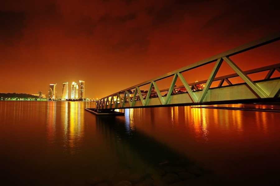 The red night by Hafizal Talib - Landscapes Starscapes ( water, sky, night, jetty, landscape )