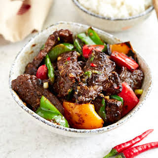 Hunan Beef with Peppers and Asparagus.