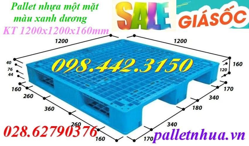 pallet nhựa 1200x1200x160mm xanh dương