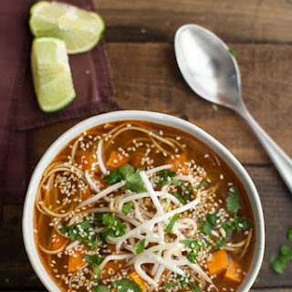 Sweet Potato Sriracha Noodle Soup.
