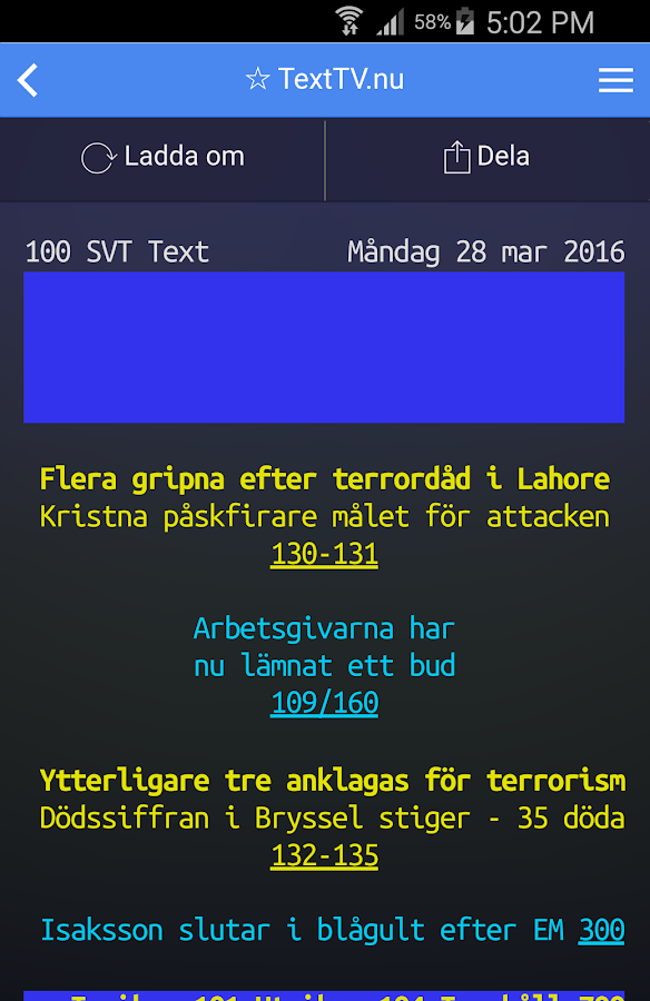 TextTV.nu- screenshot
