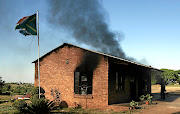Mariadze Inclusive School's administration block burns during a  protest at GaMashau village in Vuwani, Limpopo.