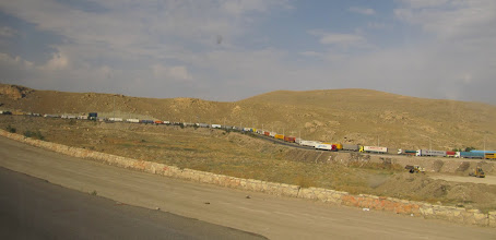 Photo: Day 131 - Long Queue of Trucks Waiting to Get Out of Iran #2