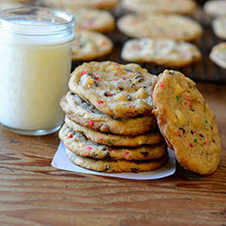Cake Batter Double Chocolate Chip Cookies.