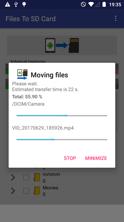 Files To SD Card: screenshot