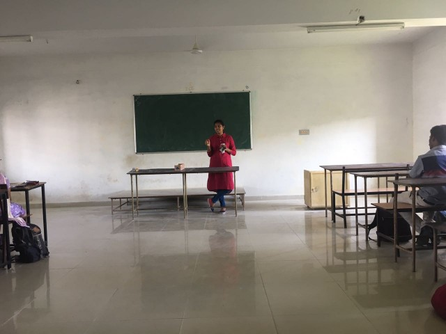 Gayathri talks to students