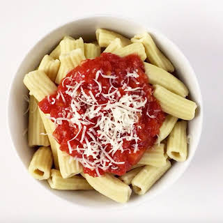 Homemade Rigatoni Pasta with Marinara Sauce.