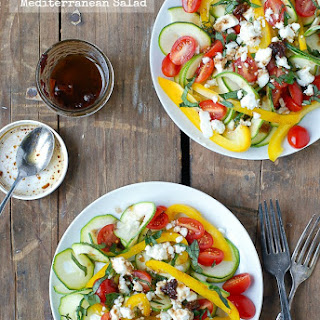 Zucchini Ribbon Mediterranean Salad with Sun Dried Balsamic Vinaigrette