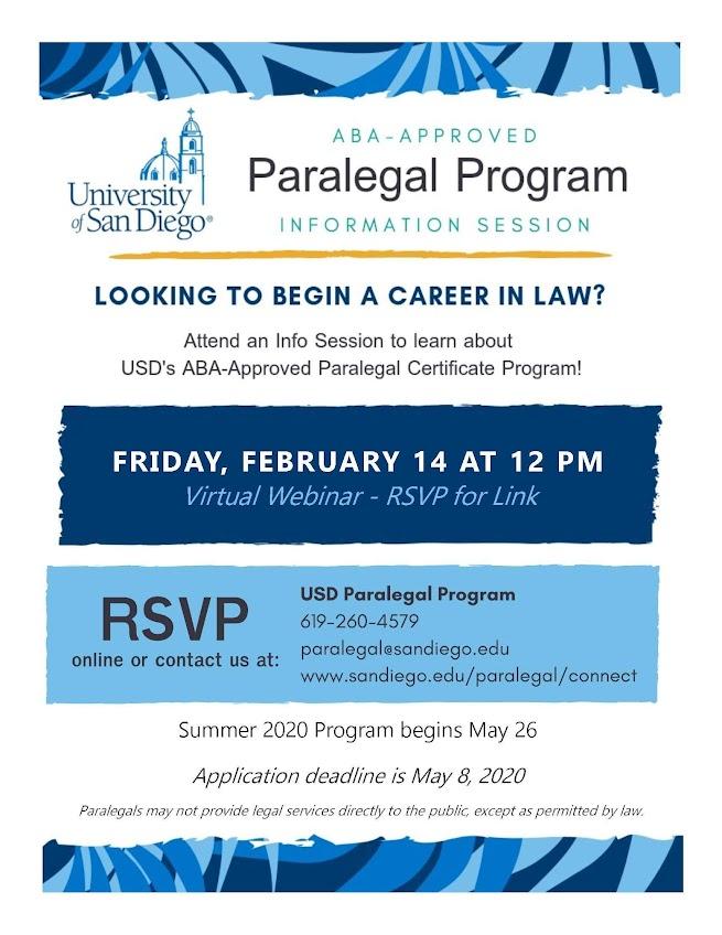 Paralegal Program Information Session: 2/14 at 12pm, virtual webinar