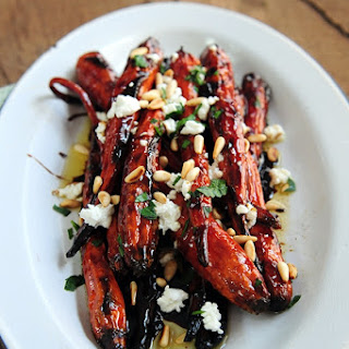 Oven-Roasted Carrots with Goat Cheese, Pine Nuts & Balsamic
