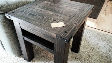 """Photo: Farmhouse End Table 16"""" Square x 30""""H Color: Black Walnut Finish: Dull Rubbed Hardware: Corner Brackets, Security Lags Shelf Investment: 350"""