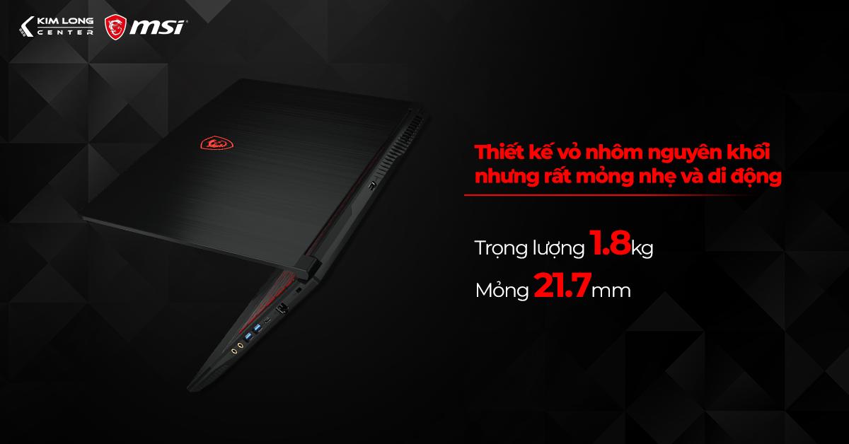 MSI GF63 Thin 10SCXR mang thiết kế tối giản hiện đại