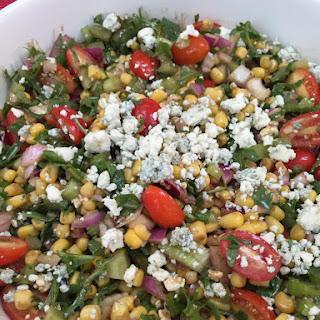 Corn, Cherry Tomato, Arugula and Blue Cheese Salad.