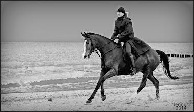 Photo: Pferd und Reiter am Strand