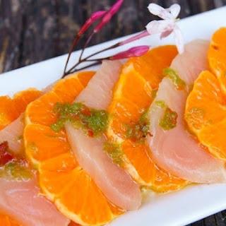 Spicy Marinated Yellow Tail and Mandarin Sashimi