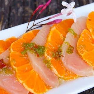 Spicy Marinated Yellow Tail and Mandarin Sashimi.