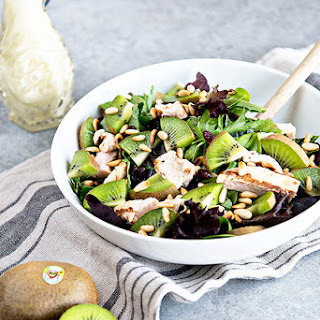 Kiwi and Chicken Salad with Goat Cheese Dressing.