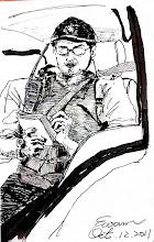 Photo: 車上的自畫像2011.10.12鋼筆 趁往醫院的十來分鐘,我搖下車窗,對著後照鏡裡的自己畫了起來…
