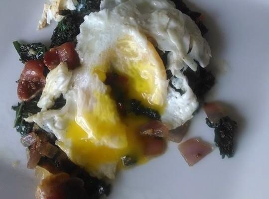 Sauteed Kale With Bacon And Egg. Recipe