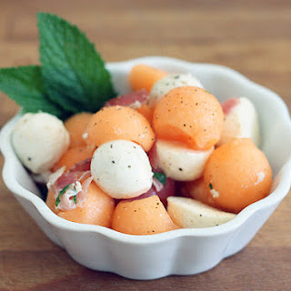 Summer Salad with Cantaloupe, Bocconcini, Prosciutto and Mint