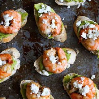 Easy Guacamole & Spiced Shrimp Crostini.