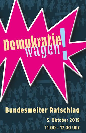 Plakat: «Demokratie wagen! …».