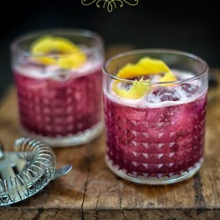 Blueberry Gin Sour Cocktail.