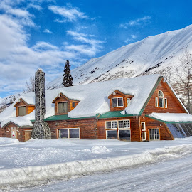 Winter at The Lodge by Patricia Phillips - Buildings & Architecture Other Exteriors ( lodges alaska winter snow )