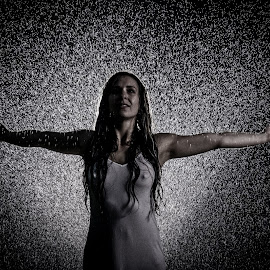 Embrace the rain by Rob James - People Portraits of Women ( model, dark, nipple, wet, sheer, rain )