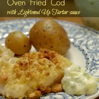 "Weight Watchers Oven ""Fried"" Cod with Tartar Sauce."