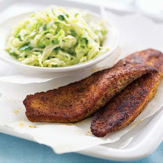 Blackened Tilapia with Cilantro-Lime Slaw