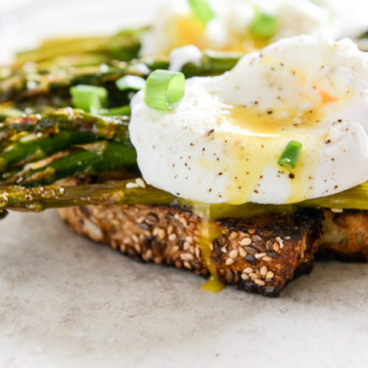 Roasted Sesame Asparagus Toasts with Poached Eggs Recipe | Yummly