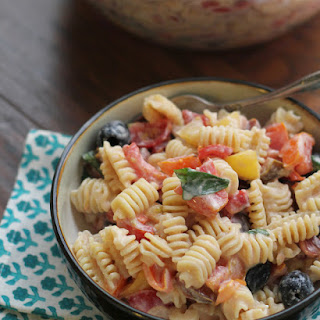 Heirloom Tomato Pasta Salad with Ricotta Salata Cream Sauce {#RecipeRedux}